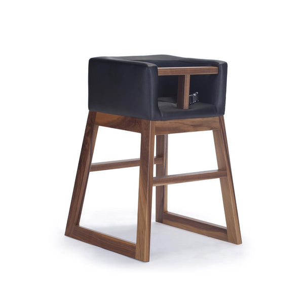 crown and birch monte design tavo high chair black walnut angle