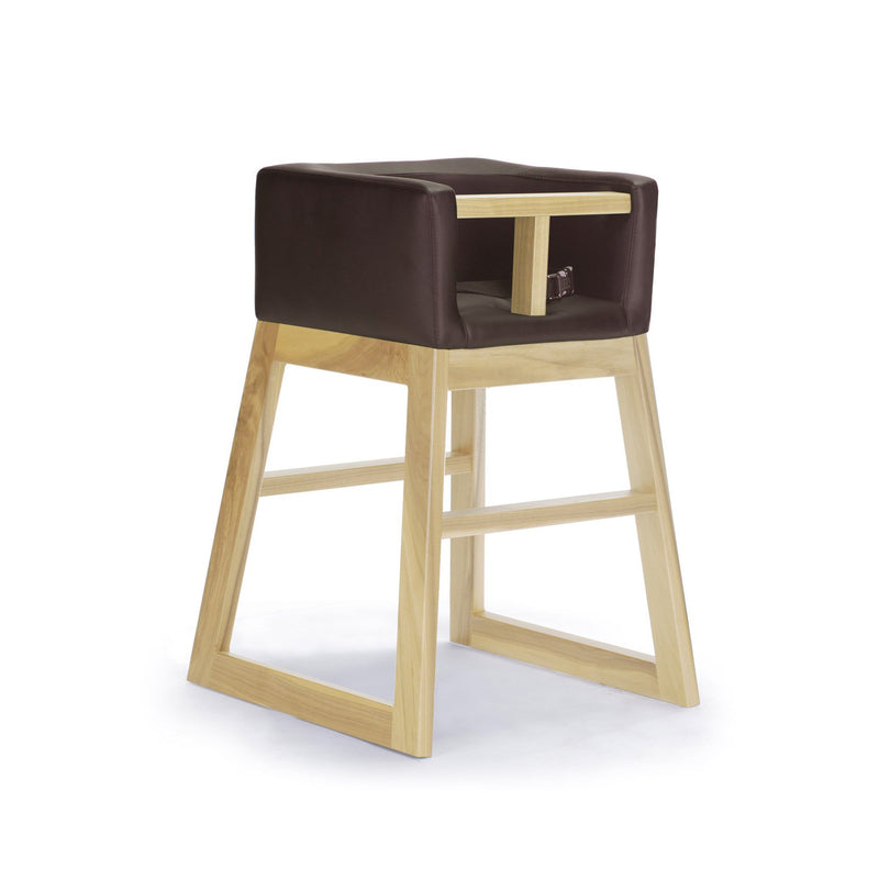 crown and birch monte design tavo high chair brown maple angle