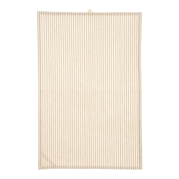 crown and birch ticking tea towel beige