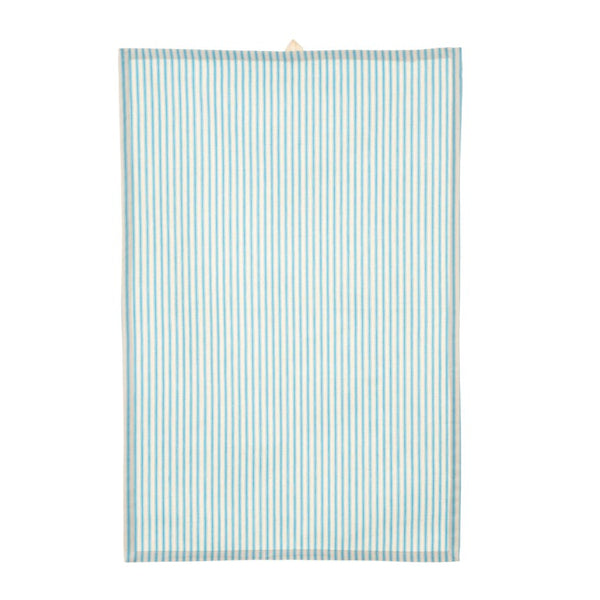 crown and birch ticking tea towel blue