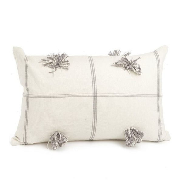 crown and birch tufted white and grey plaid cushion