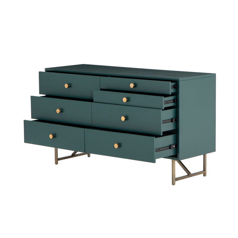 crown and birch vanna 7 drawer dresser juniper green angle open