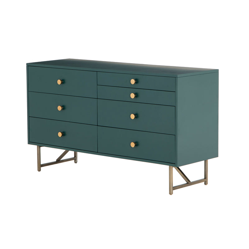 crown and birch vanna 7 drawer dresser juniper green angle