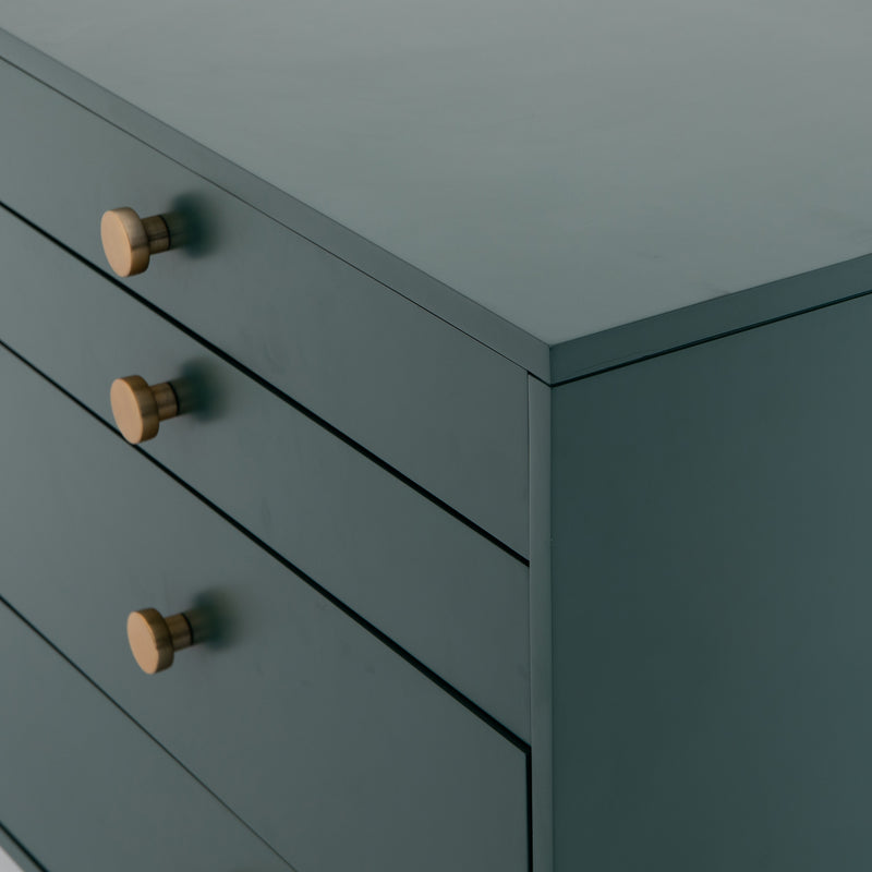 crown and birch vanna 7 drawer dresser juniper green drawer detail