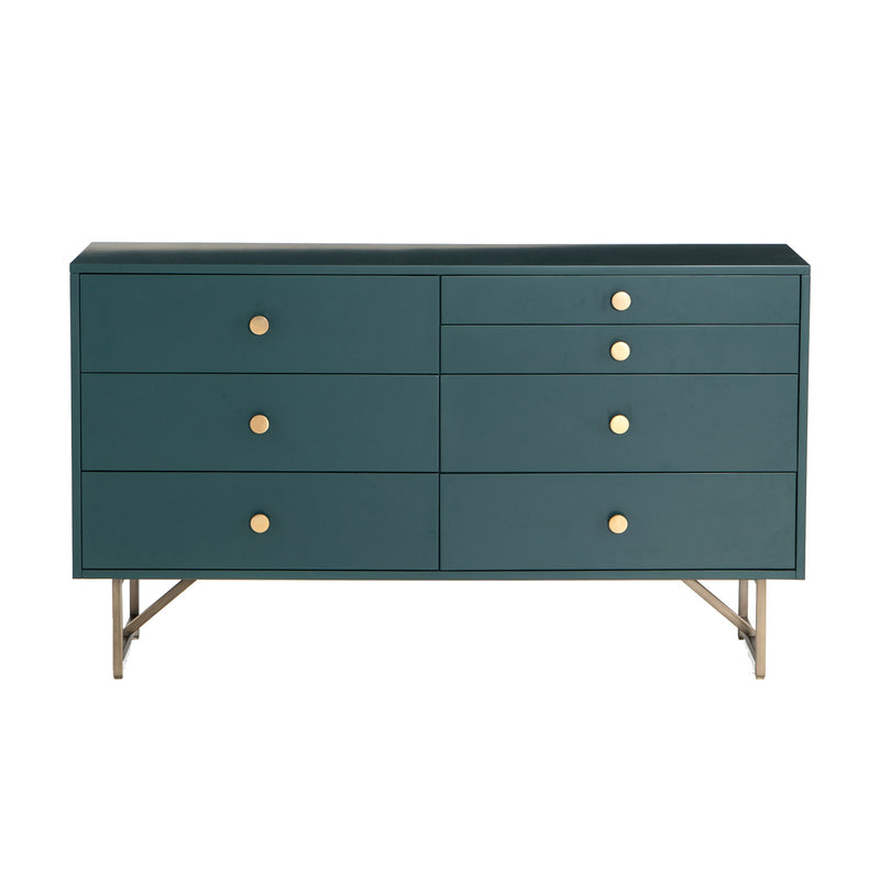 crown and birch vanna 7 drawer dresser juniper green front