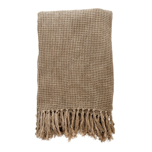 crown and birch waffle throw taupe