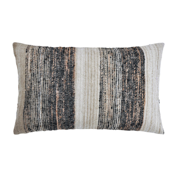 crown and birch weston grey multi stripe lumbar pillow front