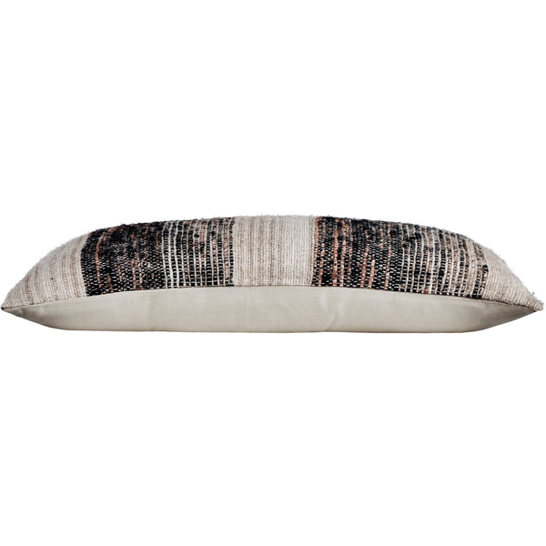 crown and birch weston grey multi stripe lumbar pillow side