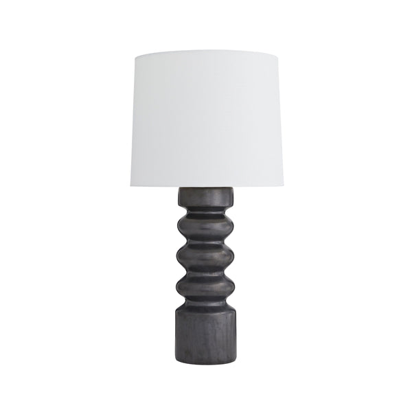 crown and birch whit table lamp gunmetal front