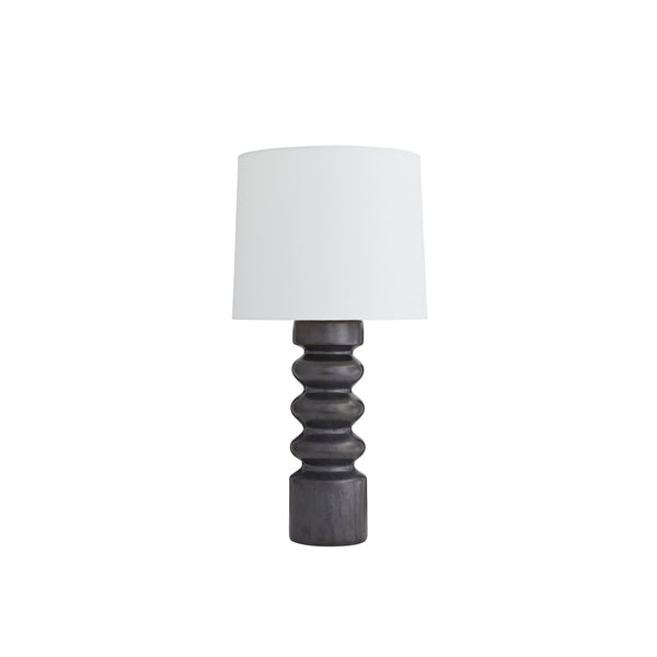 crown and birch whit table lamp gunmetal light off
