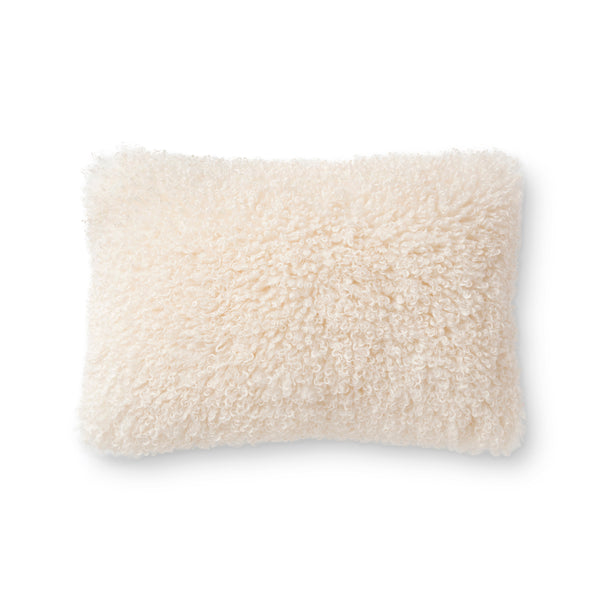 crown and birch white fluffy pillow 16x26 front
