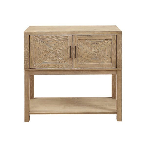 crown and birch wood plank natural console front