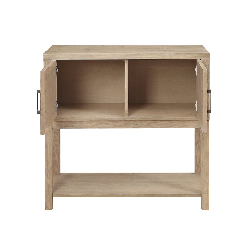 crown and birch wood plank natural console open