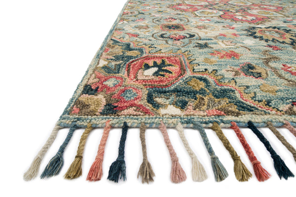 crown and birch zanah rug light blue multi detail