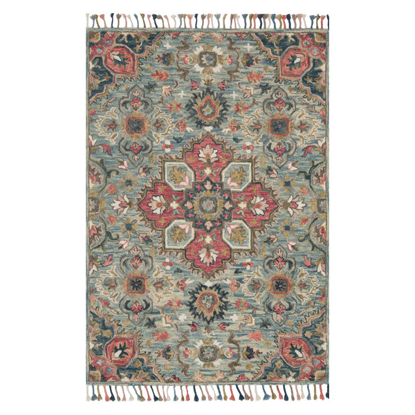 crown and birch zanah rug light blue multi front