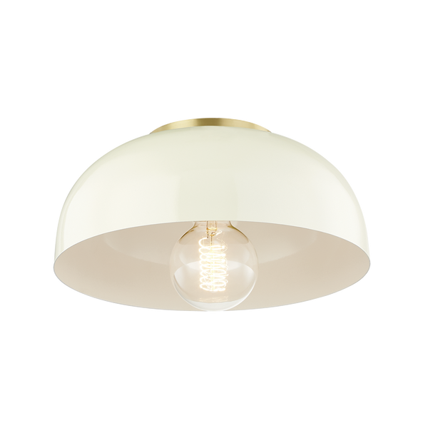 hudson valley lighting mitzi 11 inch avery semi flush aged brass cream