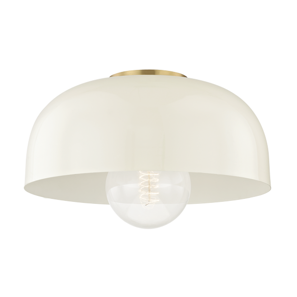 hudson valley lighting mitzi 14 inch avery semi flush aged brass cream
