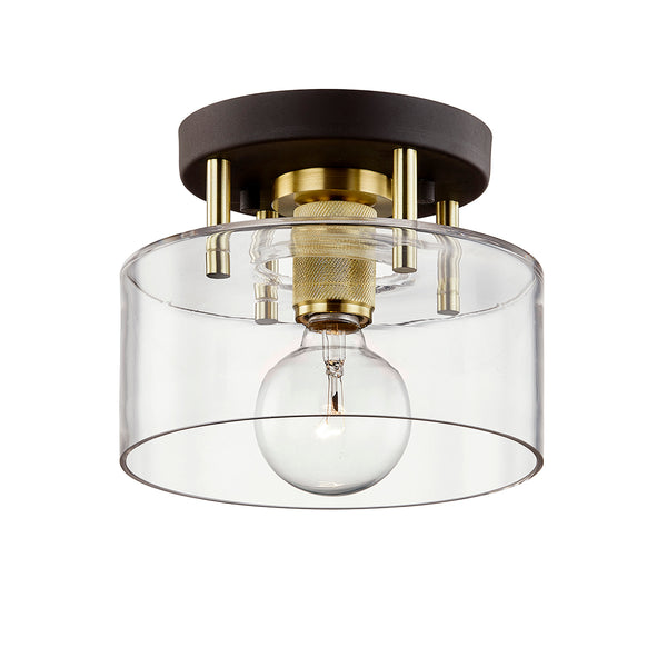 troy lighting bergamot station semi flush bronze brass 8 inch