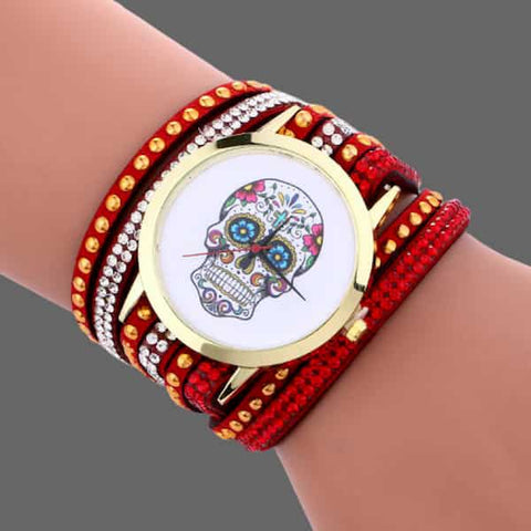 Montre et bracelet Tête de mort mexicaine - Bright red -