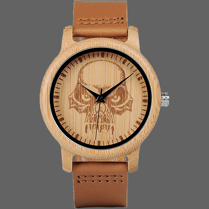 Montre crane Punisher en bambou - Bamboo - montre