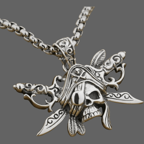Collier Pirate en argent - Pendentif + Chaineand 24 inch -