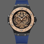 Montre crane mexicain originale - Bleu-Or - montre