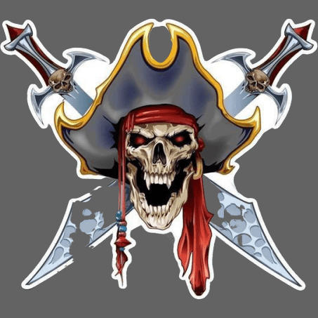Sticker pirate tete de mort 15.7x14cm - 1 piece - Sticker