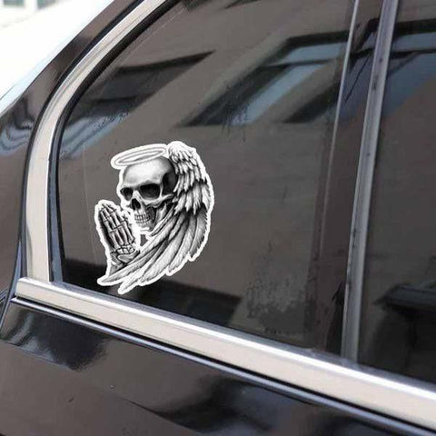 Sticker tête de mort qui prie 9.5x12.7cm ANGEL OF DEATH | Tetes-de-mort.com