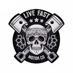 Sticker Waterproof Tête de mort Live fast 13*13cm - Sticker