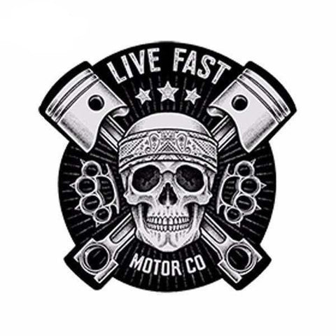 Sticker Waterproof Tête de mort Live fast 13*13cm