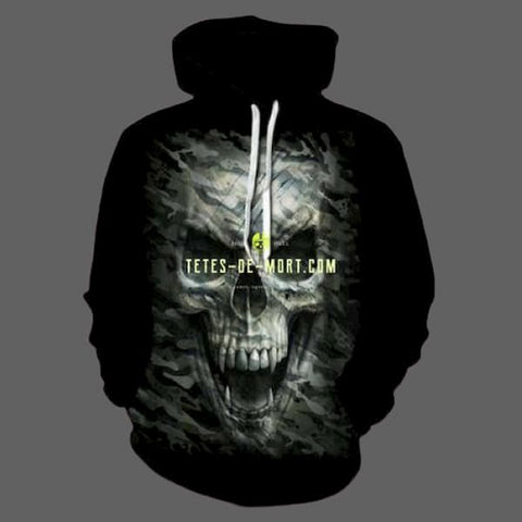 Sweatshirt Tête de mort 3D - L - Sweat