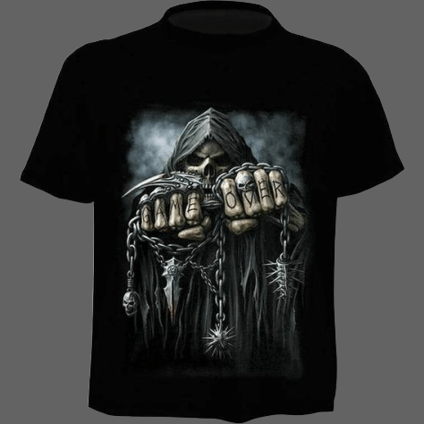 T-shirt Tête de mort Game Over - S - T-shirt