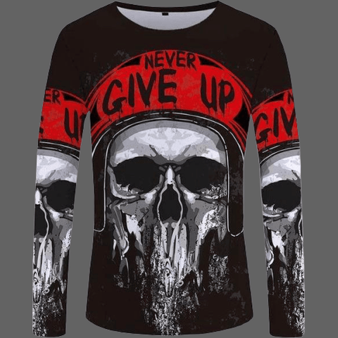 T-shirt tête de mort Never Give up manches longues - S -