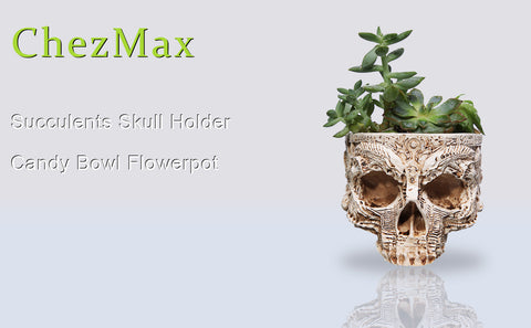 ChezMax Resin Succulent Holder Halloween Skull Candy Bowl Flowerpot Dish Statue Sculpture Skeleton Floral Carved
