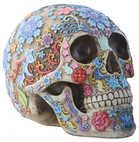 Day of The Dead Colorful Floral Sugar Skull Head Home Decor