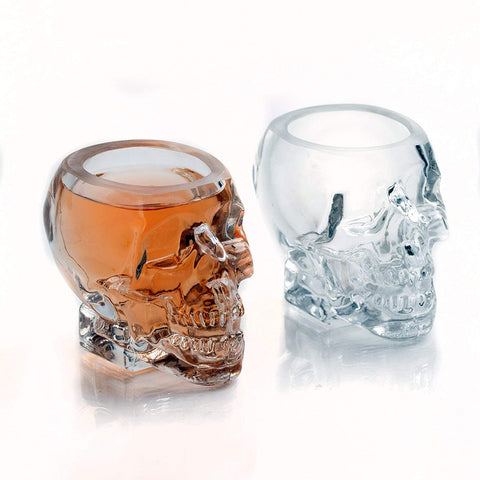 The Wine Savant Large Skull Face Decanter with 4 Skull Shot Glasses and Beautiful Wooden Base - By Use Skull Head Cup For A Whiskey