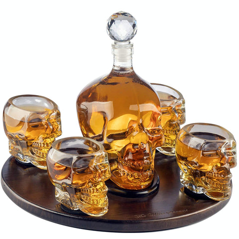 The Wine Savant Large Skull Face Decanter with 4 Skull Shot Glasses and Beautiful Wooden Base