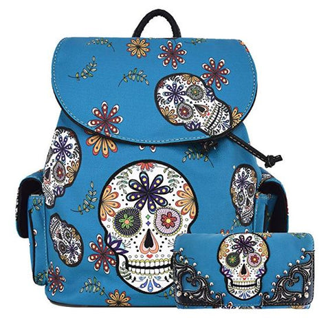 Sugar Skull Day of the Dead Daypack Concealed Carry Backpack Fashion Women Travel Biker Purse Wallet Set
