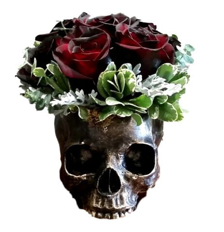 Day of The Dead Skull Bowl Figurine Long Skeleton Head Gardening Planter Sculptural Vessel Treat Container Decorative Bowl