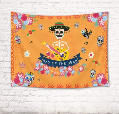 HVEST Day of The Dead Tapestry Wall Decorations Skull Skeleton Wall Decor Ghost Flowers Music Party Room Decor Mexico Festival Tapestries for Bedroom Home Dorm Halloween Decor 80Wx60H inches