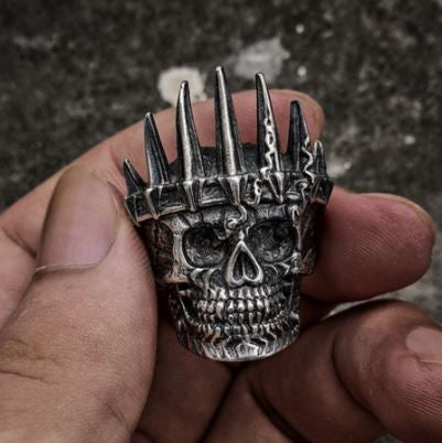 Mens Classical Nobility Silver King Crown Skull 316L Stainless Steel Biker Rings Punk Fashion Jewelry Gift for Men