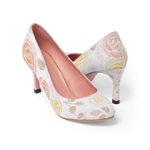 Orange roses watercolor pump shoes for ladies - Shawlin