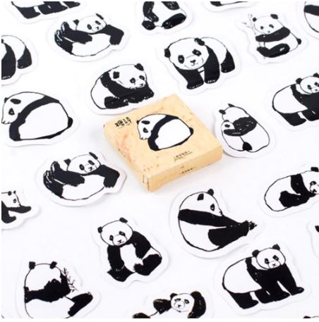 Cute Panda stickers in pack of 45 - Shawlin