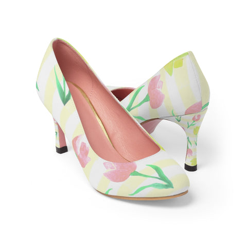 Watercolor tulip print Women's pump shoes. - Shawlin
