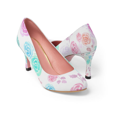 Multi color watercolor roses pump shoes - Shawlin