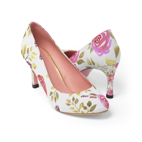 Red and Pink roses pump shoes for women - Shawlin