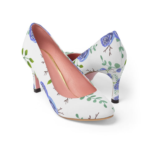 Blue Roses watercolor shoes for women - Shawlin