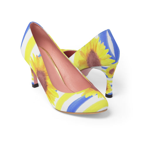 Sunflower and stripes floral print Women's High Heels - Shawlin