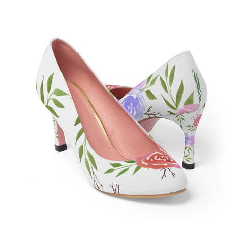 Rose print Women's High Heels in watercolor medium - Shawlin