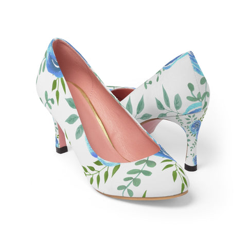 Blue rose Women's High Heels with watercolor floras - Shawlin